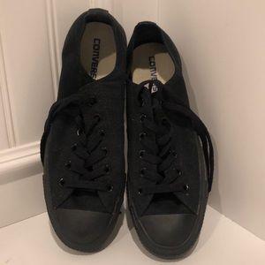 Converse low top black sneakers, size Women's 9!